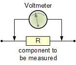 ولتاژ، V همیشه به صورت موازی یا موازی با یک جزء مدار اندازهگیری میشود.