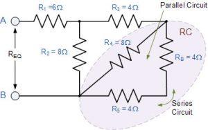مقاومت کلی RB + R5 = 4 + 4 = 8Ω