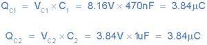 مقدار شارژ Q روی صفحات هر خازن
