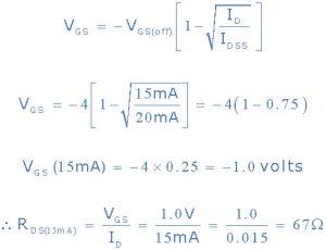 2)VGS برای شناسه = 15mA