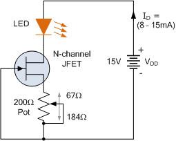 منبع جریان ثابت JFET قابل تنظیم