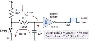 مدار RC Switch Debounce